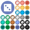 Dice three round flat multi colored icons - Dice three multi colored flat icons on round backgrounds. Included white, light and dark icon variations for hover and active status effects, and bonus shades.