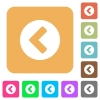 Chevron left flat icons on rounded square vivid color backgrounds. - Chevron left rounded square flat icons
