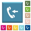 Incoming phone call white icons on edged square buttons - Incoming phone call white icons on edged square buttons in various trendy colors