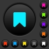 Bookmark dark push buttons with color icons - Bookmark dark push buttons with vivid color icons on dark grey background