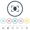 Camera selfie mode flat color icons in round outlines - Camera selfie mode flat color icons in round outlines. 6 bonus icons included.