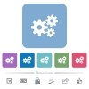 Gears flat icons on color rounded square backgrounds - Gears white flat icons on color rounded square backgrounds. 6 bonus icons included