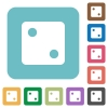Dice two rounded square flat icons - Dice two white flat icons on color rounded square backgrounds
