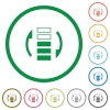 Refresh rate flat icons with outlines - Refresh rate flat color icons in round outlines on white background