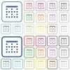 Top border outlined flat color icons - Top border color flat icons in rounded square frames. Thin and thick versions included.