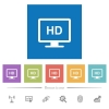 HD display flat white icons in square backgrounds. 6 bonus icons included. - HD display flat white icons in square backgrounds