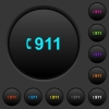 Emergency call 911 dark push buttons with color icons - Emergency call 911 dark push buttons with vivid color icons on dark grey background