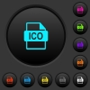 ICO file format dark push buttons with color icons - ICO file format dark push buttons with vivid color icons on dark grey background