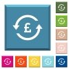 Pound pay back white icons on edged square buttons - Pound pay back white icons on edged square buttons in various trendy colors