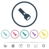 Flashlight flat color icons in round outlines. 6 bonus icons included. - Flashlight flat color icons in round outlines