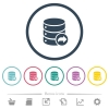 Database transaction commit flat color icons in round outlines. 6 bonus icons included. - Database transaction commit flat color icons in round outlines