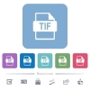TIF file format white flat icons on color rounded square backgrounds. 6 bonus icons included - TIF file format flat icons on color rounded square backgrounds