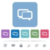 Chat bubbles white flat icons on color rounded square backgrounds. 6 bonus icons included - Chat bubbles flat icons on color rounded square backgrounds
