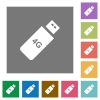 Fourth generation mobile stick square flat icons - Fourth generation mobile stick flat icons on simple color square backgrounds