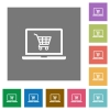 Webshop square flat icons - Webshop flat icons on simple color square backgrounds
