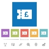 Pound discount coupon flat white icons in square backgrounds - Pound discount coupon flat white icons in square backgrounds. 6 bonus icons included.