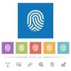 Fingerprint flat white icons in square backgrounds - Fingerprint flat white icons in square backgrounds. 6 bonus icons included.