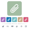 Attachment flat icons on color rounded square backgrounds - Attachment white flat icons on color rounded square backgrounds. 6 bonus icons included