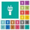 Air control tower square flat multi colored icons - Air control tower multi colored flat icons on plain square backgrounds. Included white and darker icon variations for hover or active effects.