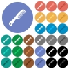 Comb with handle multi colored flat icons on round backgrounds. Included white, light and dark icon variations for hover and active status effects, and bonus shades. - Comb with handle round flat multi colored icons