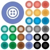 Dress button with 4 holes round flat multi colored icons - Dress button with 4 holes multi colored flat icons on round backgrounds. Included white, light and dark icon variations for hover and active status effects, and bonus shades.