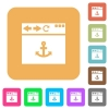 Browser anchor rounded square flat icons - Browser anchor flat icons on rounded square vivid color backgrounds.
