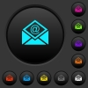Open mail with email symbol dark push buttons with color icons - Open mail with email symbol dark push buttons with vivid color icons on dark grey background