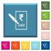 Signing Rupee cheque white icons on edged square buttons - Signing Rupee cheque white icons on edged square buttons in various trendy colors