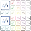 Candlestick chart outlined flat color icons - Candlestick chart color flat icons in rounded square frames. Thin and thick versions included.