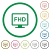 Full HD display flat color icons in round outlines on white background - Full HD display flat icons with outlines