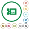 Hi-fi shop discount coupon flat icons with outlines - Hi-fi shop discount coupon flat color icons in round outlines on white background