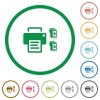 Printer and ink cartridges flat icons with outlines - Printer and ink cartridges flat color icons in round outlines on white background