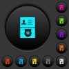 Police id and badge dark push buttons with color icons - Police id and badge dark push buttons with vivid color icons on dark grey background