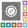 Dress button with 2 holes square flat icons - Dress button with 2 holes flat icons on simple color square backgrounds