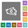More banknotes with portrait flat icons on simple color square backgrounds - More banknotes with portrait square flat icons