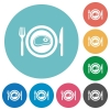 Steak for lunch flat round icons - Steak for lunch flat white icons on round color backgrounds