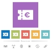 Euro discount coupon flat white icons in square backgrounds - Euro discount coupon flat white icons in square backgrounds. 6 bonus icons included.