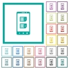 Dual SIM mobile flat color icons with quadrant frames - Dual SIM mobile flat color icons with quadrant frames on white background
