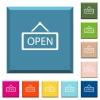 Open sign white icons on edged square buttons - Open sign white icons on edged square buttons in various trendy colors