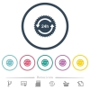 24h sticker with arrows flat color icons in round outlines - 24h sticker with arrows flat color icons in round outlines. 6 bonus icons included.