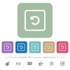 Rotate object left flat icons on color rounded square backgrounds - Rotate object left white flat icons on color rounded square backgrounds. 6 bonus icons included
