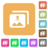 Upload multiple images rounded square flat icons - Upload multiple images flat icons on rounded square vivid color backgrounds.