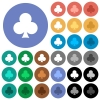 Club card symbol round flat multi colored icons - Club card symbol multi colored flat icons on round backgrounds. Included white, light and dark icon variations for hover and active status effects, and bonus shades.