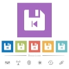 File previous flat white icons in square backgrounds - File previous flat white icons in square backgrounds. 6 bonus icons included.