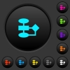 Flowchart dark push buttons with color icons - Flowchart dark push buttons with vivid color icons on dark grey background