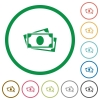 More banknotes flat icons with outlines - More banknotes flat color icons in round outlines on white background