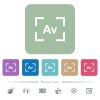 Camera aperture value mode flat icons on color rounded square backgrounds - Camera aperture value mode white flat icons on color rounded square backgrounds. 6 bonus icons included