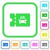 Taxi discount coupon vivid colored flat icons - Taxi discount coupon vivid colored flat icons in curved borders on white background