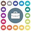Satchel with one buckle flat white icons on round color backgrounds - Satchel with one buckle flat white icons on round color backgrounds. 17 background color variations are included.