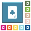Nine of clubs card white icons on edged square buttons - Nine of clubs card white icons on edged square buttons in various trendy colors